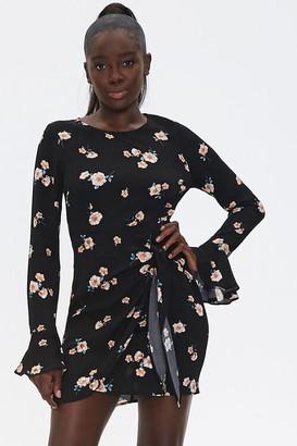 Forever 21 Floral Bell Sleeve Mini Dress