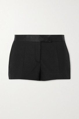 Tom Ford Silk Satin-trimmed Wool-blend Shorts - Black