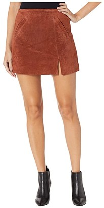 Blank NYC Suede Skirt w/ Side Slit (Dried Tobacco) Women's Skirt