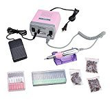 Image Pink 30000 RPM Professional Nail Art File Electric Drill Machine Kit for Acrylic, Glass, or Silk Wrap Artificial Nails and Natural Finger/Toe Nail