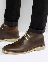 Asos Desert Boots In Brown Leather With Faux Shearling Lining