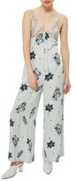 Topshop Women's Embroidered Floral Jumpsuit