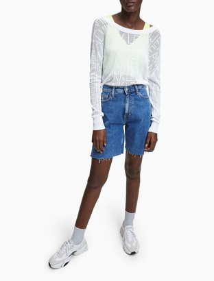 Calvin Klein Relaxed Fit Logo Mesh Sweater