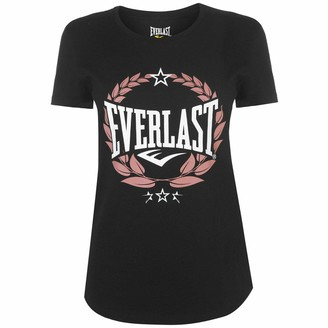 Everlast Womens Graphic T Shirt Crew Neck Tee Top Short Sleeve Regular Fit Print Black Laurel 10 (S)