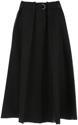 Fendi Belted Pleated A-Line Skirt