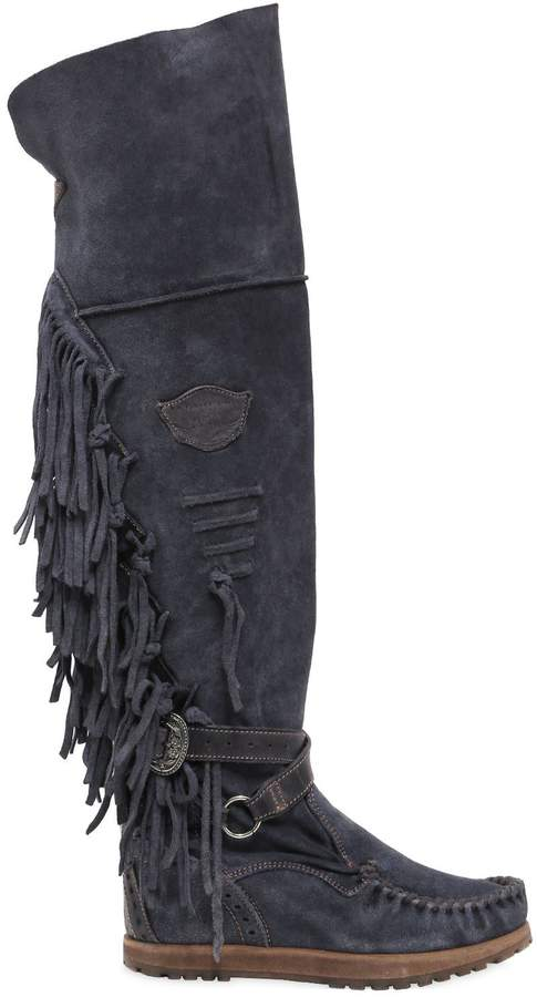 EL VAQUERO 70mm Delilah Fringed Suede Wedged Boots