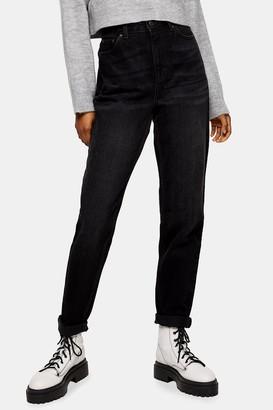 Topshop Worn Black Mom Tapered Jeans