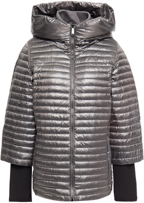 DKNY Metallic Quilted Shell Hooded Down Jacket