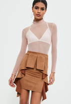 Missguided Brown Faux Suede Frill Detail Mini Skirt