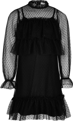 River Island Girls Black mesh long sleeve frill dress
