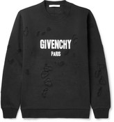 Givenchy Cuban-Fit Distressed Cotton-Jersey Sweatshirt
