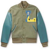 Thumbnail for your product : KAPITAL Appliqued Faux Leather And Wool-Blend Tweed Varsity Jacket