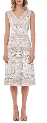 Kay Unger Priscilla Lace Midi Dress