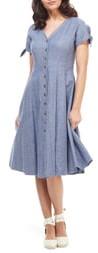 Gal Meets Glam Lenna Button Front Linen Blend Fit & Flare Dress
