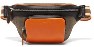Fendi Colour-block Leather And Ff-canvas Belt Bag - Multi
