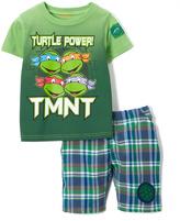 Children's Apparel Network TMNT Green Tank & Plaid Shorts - Toddler