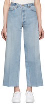 RE/DONE Blue Wide-Leg Cropped Jeans