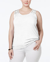 INC International Concepts Plus Size Lace-Up Tank Top, Only at Macy's