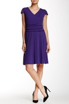 Nine West 10570382 Ruched V-Neck A-Line Dress