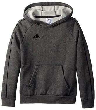 adidas Kids Core 18 Hoodie (Little Kids/Big Kids) (Dark Grey Heather/Black) Boy's Sweatshirt