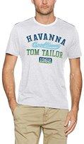 Tom Tailor Men's T-shirt With Chest Print T-Shirt, White (Blanc De Blanc 2063)
