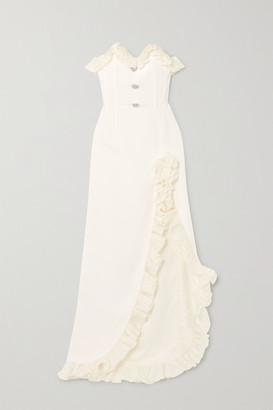 Alessandra Rich Ruffled Silk Organza-trimmed Cady Gown - White