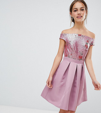 Little Mistress Petite bardot sequin top mini prom dress-Pink