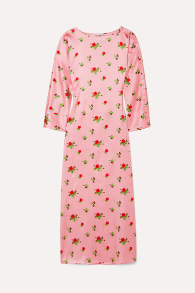 Dakota Bernadette BERNADETTE Floral-print Stretch-silk Satin Maxi Dress - Pink