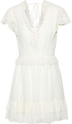 Rebecca Taylor Ruffled Metallic Cotton-blend Gauze Mini Dress