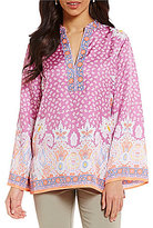 Sigrid Olsen Signature Split Neck Long Sleeve Printed Silk Tunic