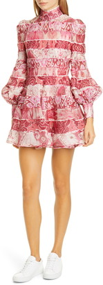 Zimmermann Wavelength Long Balloon Sleeve Linen & Silk Minidress