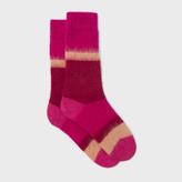 Paul Smith Women's Fluffy Pink Colour Block Mohair-Cashmere Socks