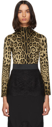 Dolce & Gabbana Brown Silk Leopard Print Turtleneck
