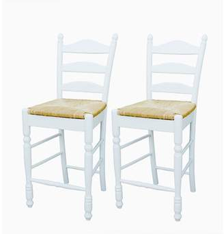"Generic Ladder Back Rush Seat Counter Stools 24"", Set of 2, Multiple Colors"