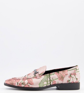 ASOS DESIGN Wide Fit loafers in multi floral print with bit detail