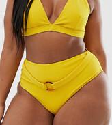 Peek & Beau Curve Exclusive rib high waist bikini bottom with tort belt in yellow