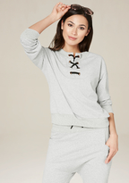 Bebe French Terry Lace Up Top