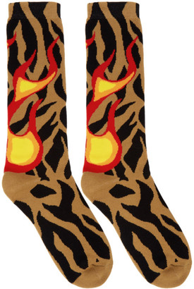 Palm Angels Brown Big Flames Socks
