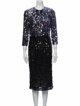 Dolce & Gabbana Colorblock Pattern Midi Length Dress Black