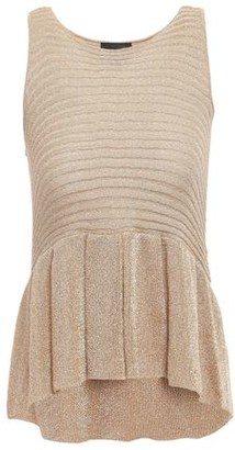 Just Cavalli Metallic Ribbed-knit Peplum Top