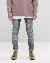 Asos Super Skinny Jeans With Rips In Biker Style