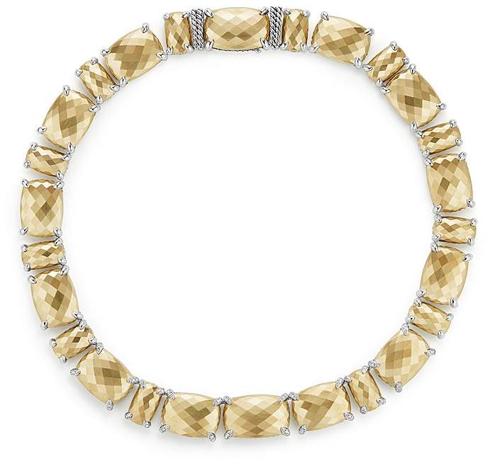 David Yurman Ch'telaine Linear Necklace with Diamonds in 18K Gold