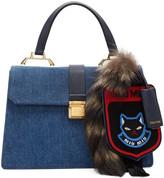 Miu Miu Blue Denim Raccoon Tail and Cat Bag