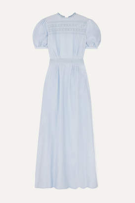MATIN - Este Broderie Anglaise-trimmed Cotton And Silk-blend Gauze Maxi Dress - Lilac