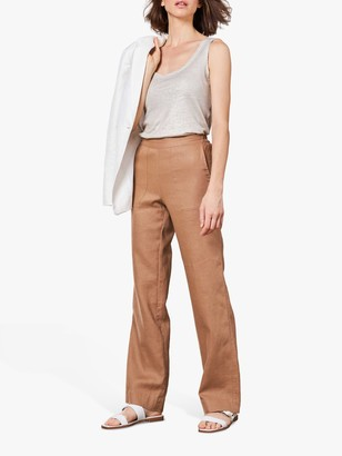 Pure Collection Wide Leg Linen Trousers, Camel