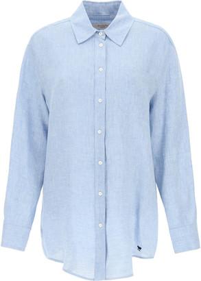 Max Mara LINEN CHAMBRAY SHIRT 38 Blue, Light blue Linen