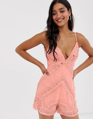 Asos Design DESIGN plunge neck cami romper with shell embellishment
