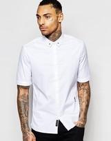 Religion Short Sleeve Shirt with Skull Collar Tips in Regular Fit