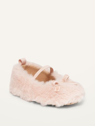 Old Navy Faux-Fur Bow-Tie Ballet Flats for Baby
