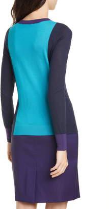 BOSS Fiolena Colorblock Wool Sweater
